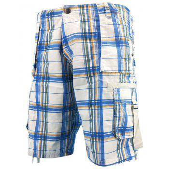 Zip Fly Drawstring Edge Cargo Shorts - SKY BLUE 34