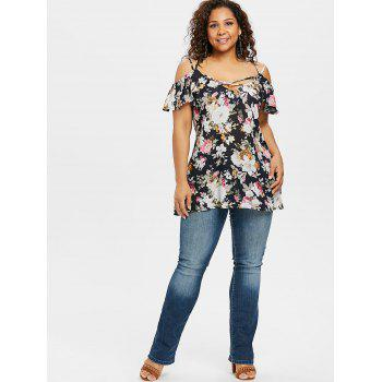 Plus Size Cold Shoulder Flowers Chiffon Blouse - BLACK 5X