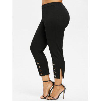 Plus Size Grommet Slit Pants - BLACK 2X
