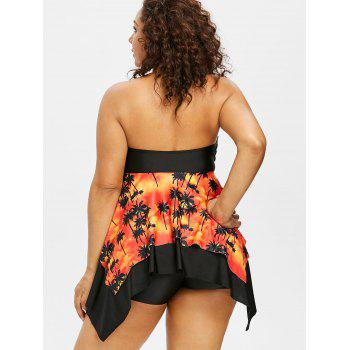 Plus Size Palm Halter Neck Handkerchief Tankini Set - TANGERINE 1X
