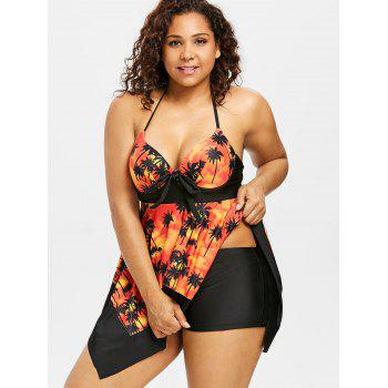 Plus Size Palm Halter Neck Handkerchief Tankini Set - TANGERINE 5X