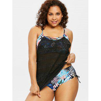 Floral Plus Size Double Up Tankini Set - BLACK 2X
