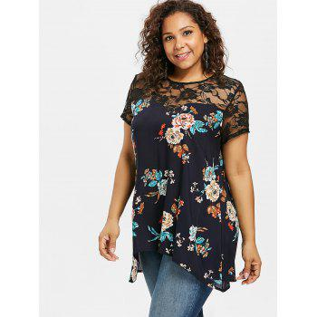 Lace Insert Plus Size Flowered Blouse - MIDNIGHT BLUE 3X