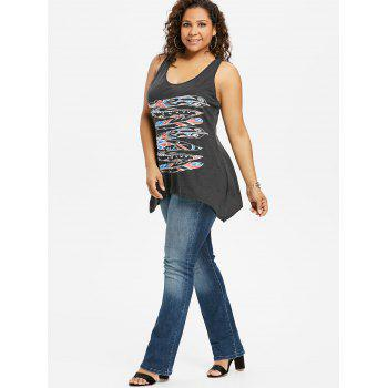 Plus Size Racerback Graphic Crescent Hem Tank Top - BLACK 4X