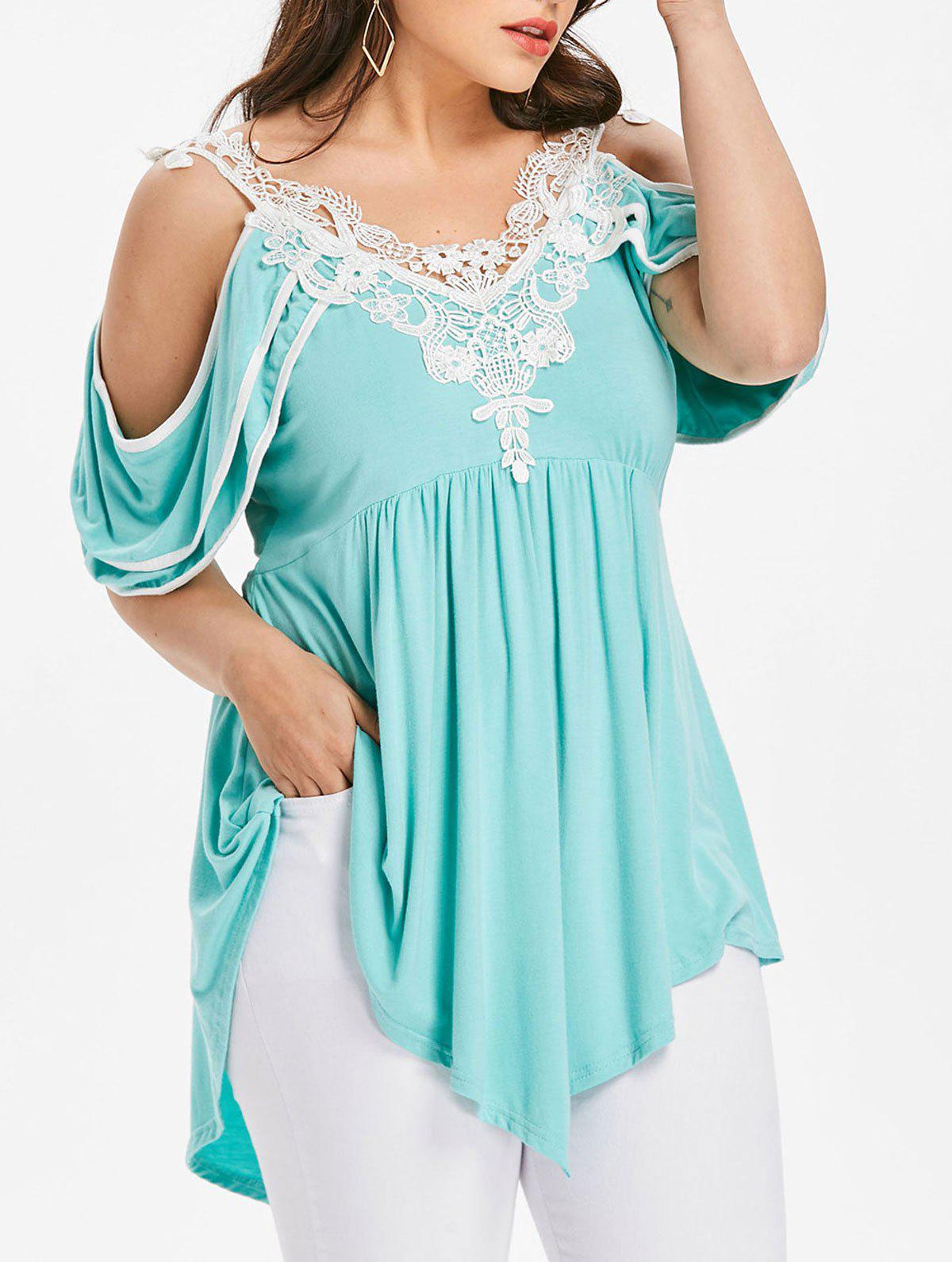 Plus Size Tiered Cold Shoulder T-shirt - BLUE GREEN 1X