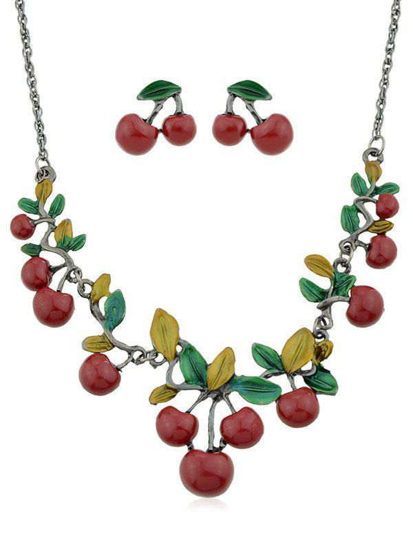 Cherries Pattern Design Chain Necklace with Earrings - RED