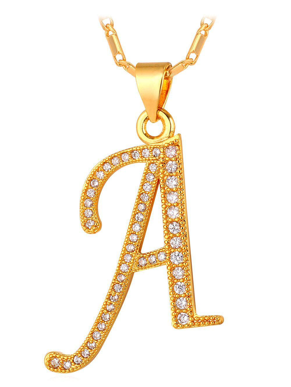 Vintage Rhinestone Capital Letter Alloy Pendant Necklace, Gold