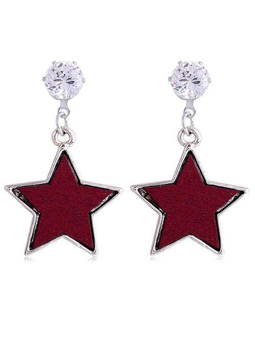 Pair of Faux Crystal Inlay Star Drop Earrings 1 pair square faux sapphire inlay hairpin