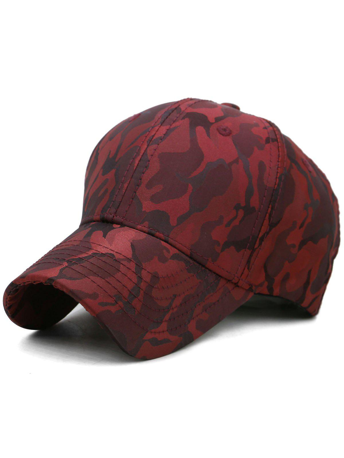 Lightweight Camouflage Adjustable Baseball Hat - RED WINE