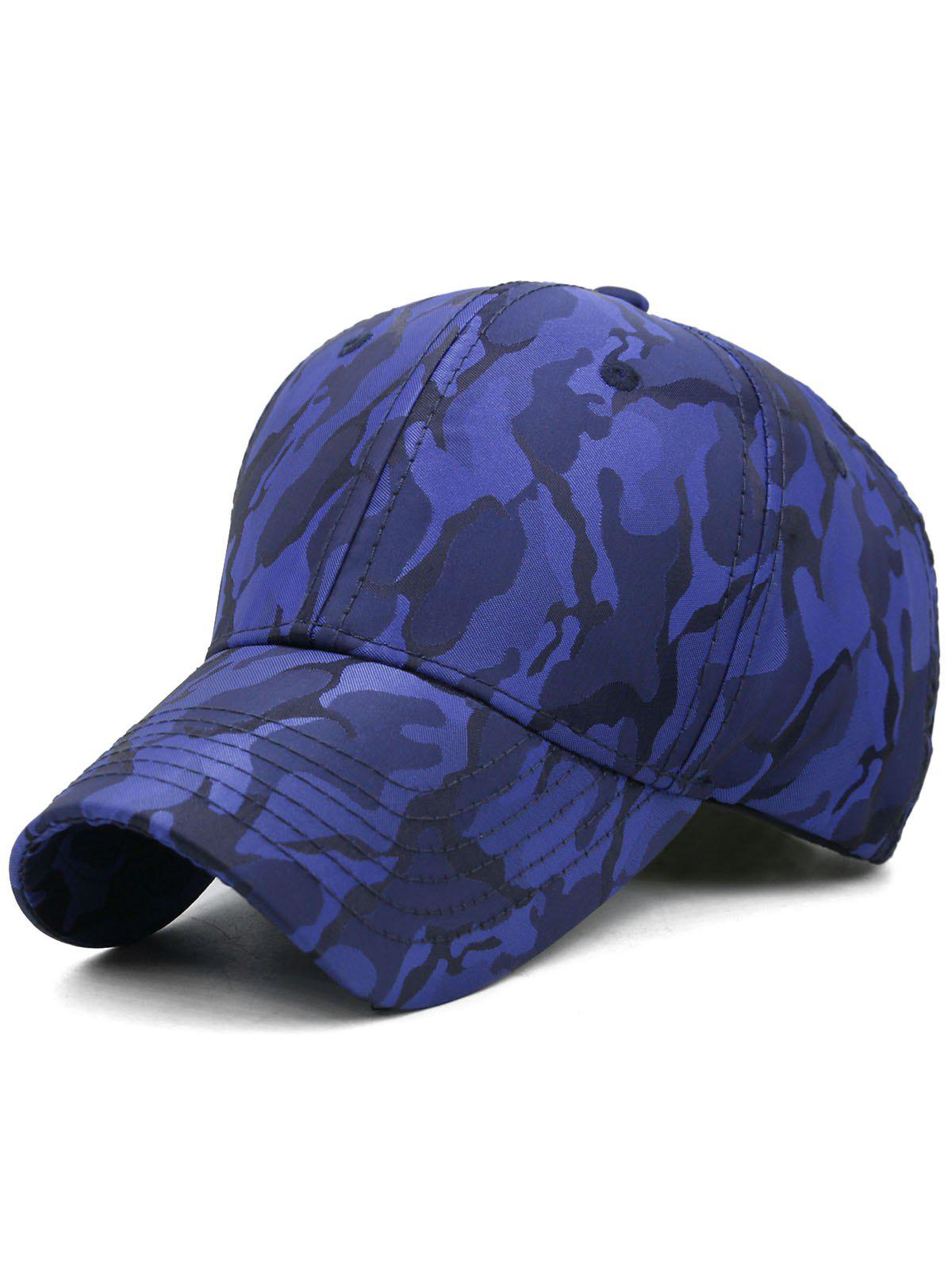 Lightweight Camouflage Adjustable Baseball Hat - BLUE