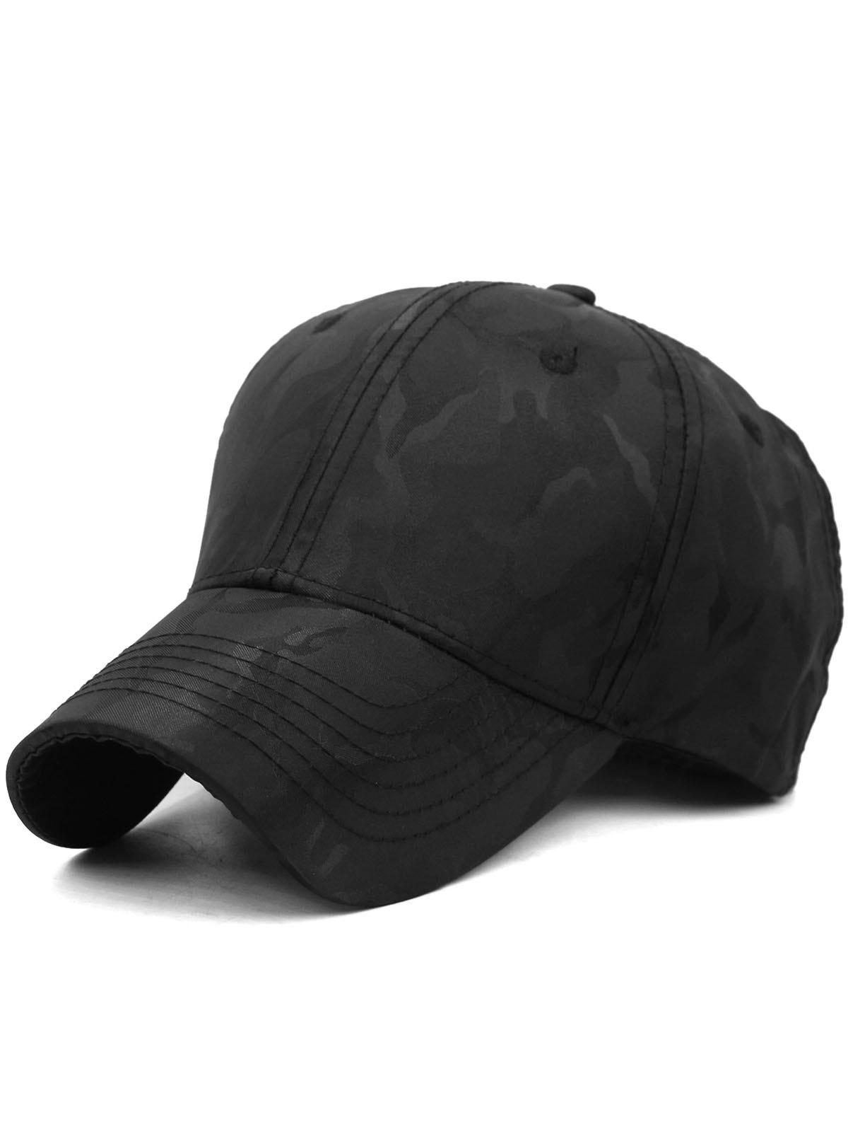 Lightweight Camouflage Adjustable Baseball Hat - BLACK