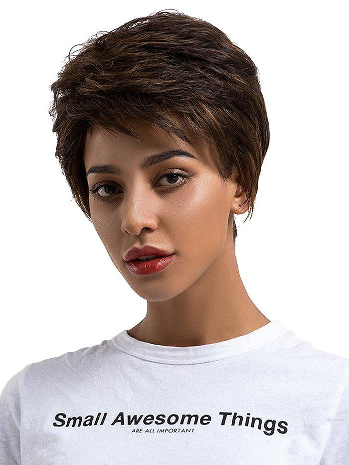 Short Side Bang Straight Colormix Capless Human Hair Wig - multicolor