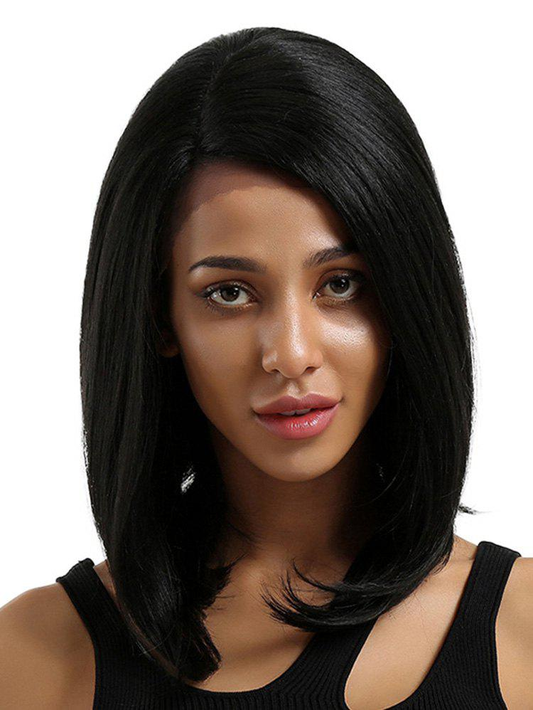Medium Side Bang Straight Bob Synthetic Lace Front Wig natural look overlength straight black asian hair synthetic lace front wig level bang match easily be dye or braid free shipping