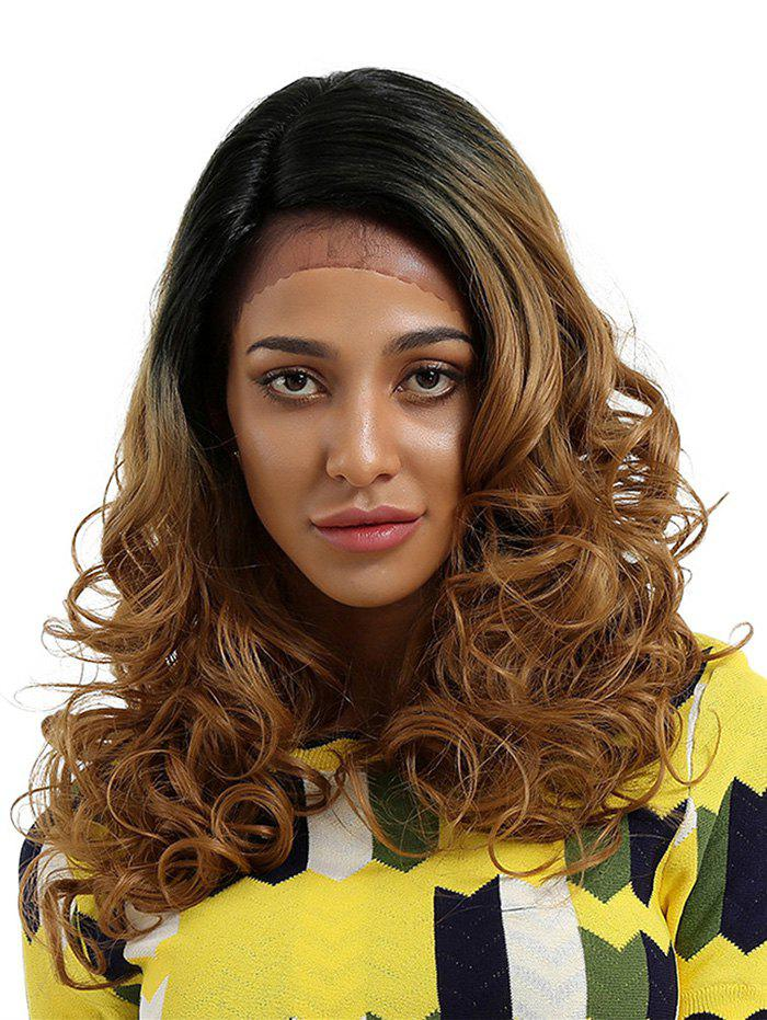 Long Inclined Bang Curly Ombre Lace Front Synthetic Wig long curly green synthetic lace front cosplay party wig