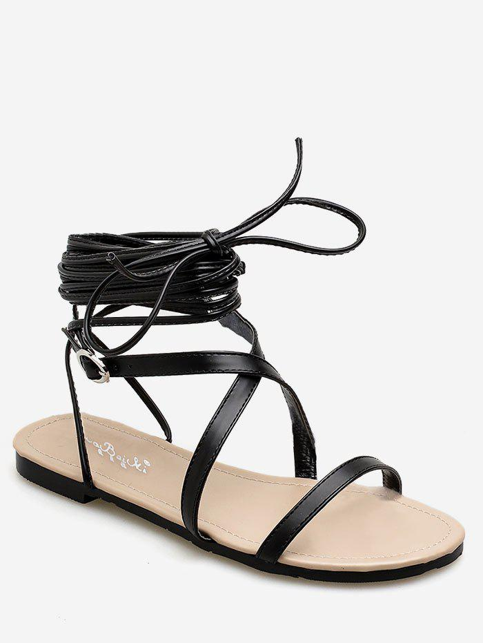 Crisscross Chic Flat Heel Lace Up Sandals light brown lace up gladiator flat sandals