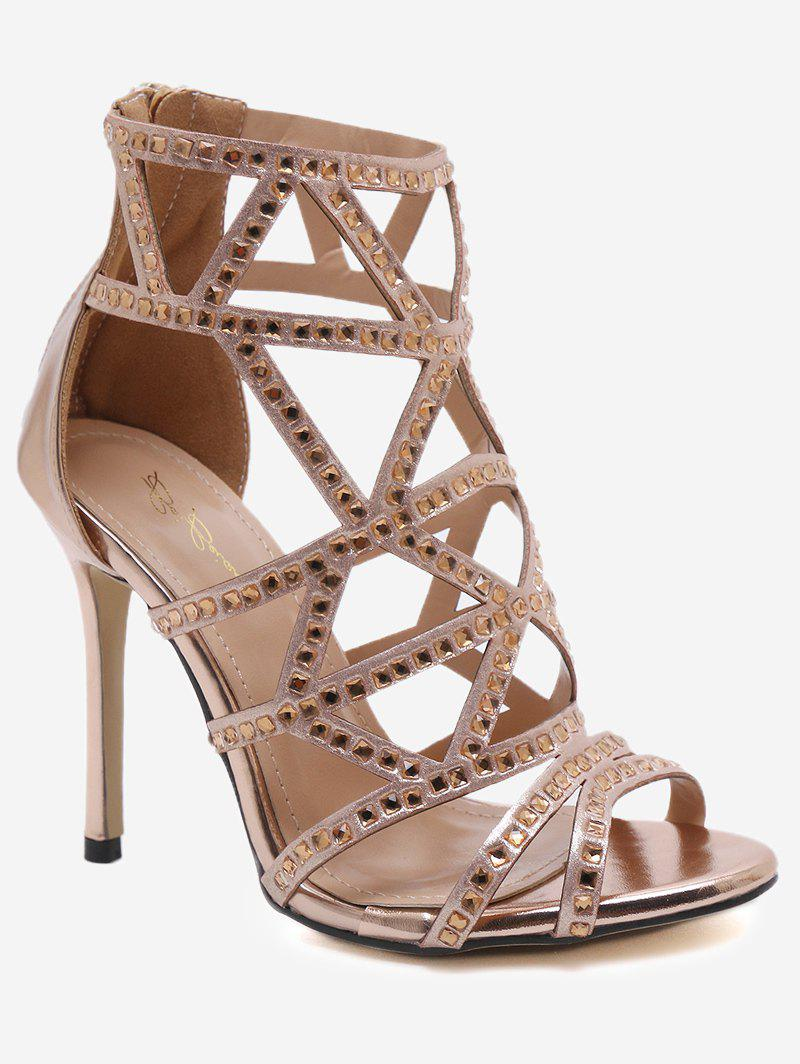 Chic Stiletto Heel Caged Peep Toe Sandals