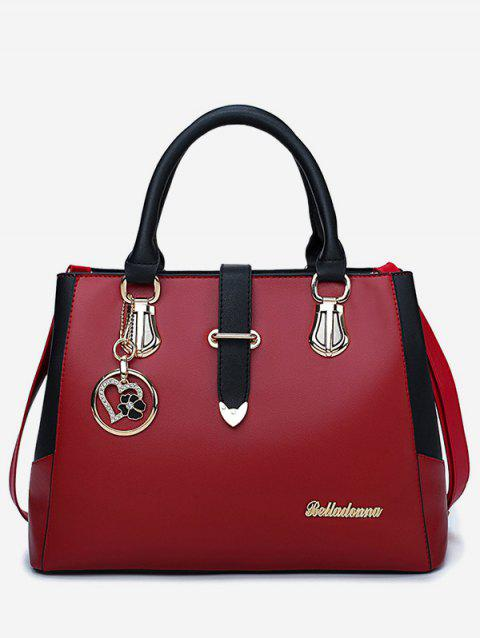 Chic Metal PU Leather Color Block Handbag - RED WINE