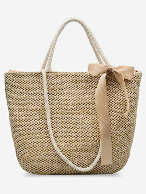 Bowknot Straw Casual Multi Function Shoulder Bag - BEIGE