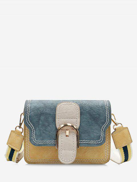 Minimalist Chic Color Block Buckled Crossbody Bag - YELLOW