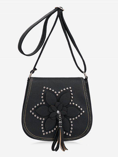 Floral Embellished Studs Crossbody Bag with Tassel - BLACK