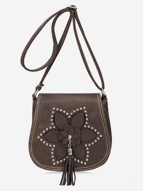 Floral Embellished Studs Crossbody Bag with Tassel - COFFEE