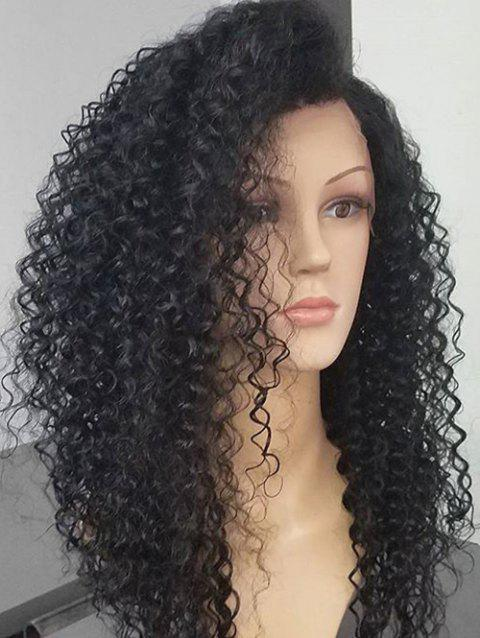 Long Side Bang Fluffy Deep Wave Synthetic Lace Front Wig - BLACK