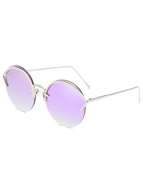 Anti UV Metal Half Frame Round Sunglasses - MAUVE