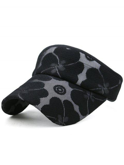 Lightweight Floral Embroidered Open Top Sunscreen Hat - BLACK