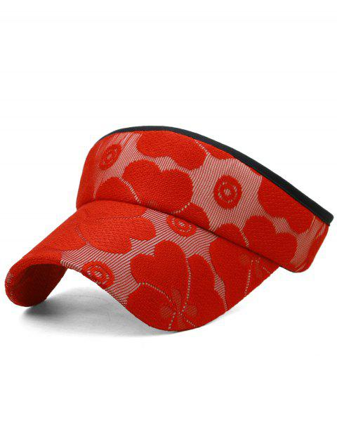 Lightweight Floral Embroidered Open Top Sunscreen Hat - LOVE RED