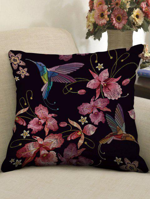 Flower and Birds Print Linen Sofa Pillowcase - multicolor W18 INCH * L18 INCH