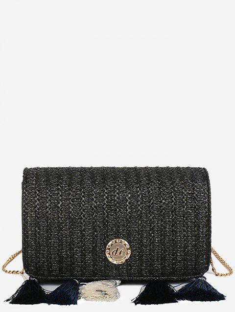 Leisure Tassels Pendant Straw Crossbody Bag - BLACK