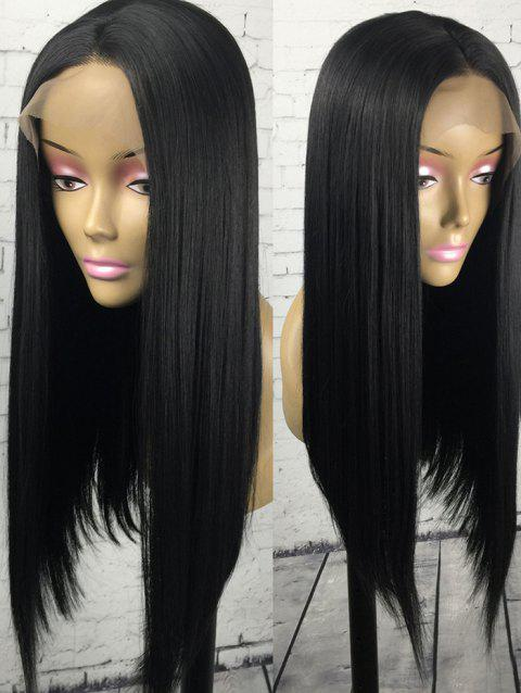 Long Center Parting Straight Party Synthetic Lace Front Wig - BLACK