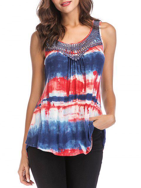 Sleeveless Tie Dye Irregular Tunic Top - DENIM DARK BLUE M