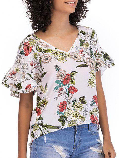 Short Horn Sleeve Floral Print Blouse - WHITE XL