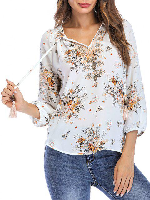 Floral Print Bow Tie Leisure Blouse - WHITE XL