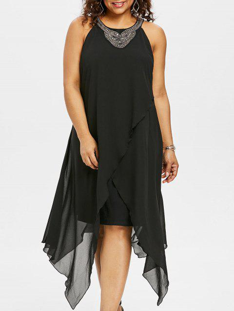 Plus Size Beading Sleeveless Flowy Dress - BLACK 5X