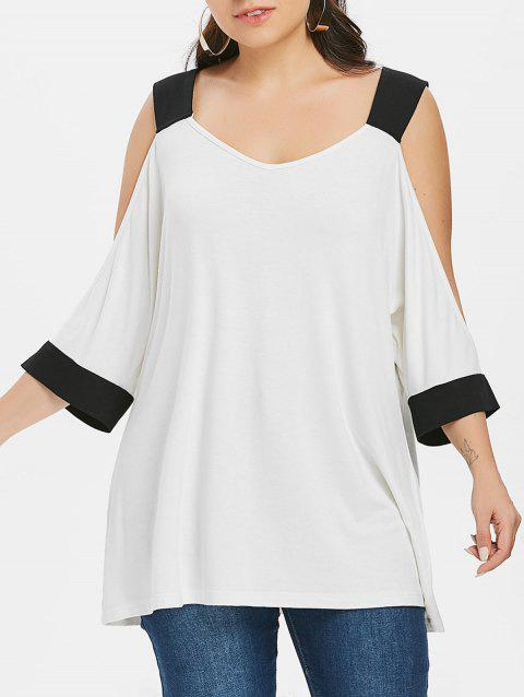 Open Shoulder Plus Size Plain T-shirt - WHITE 4X