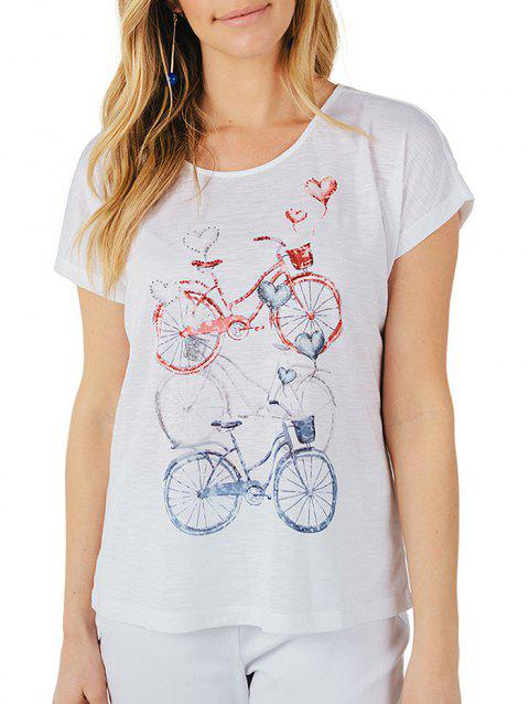 Vintage Bicycle Print T-shirt - WHITE XL