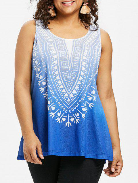 Round Neck Plus Size Ombre Tank Top - SILK BLUE 3X