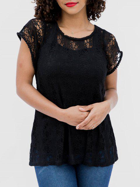 Lace Hollow Short Sleeve Casual Top - BLACK M