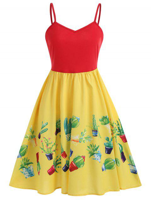 Plant Print A Line Dress - YELLOW XL