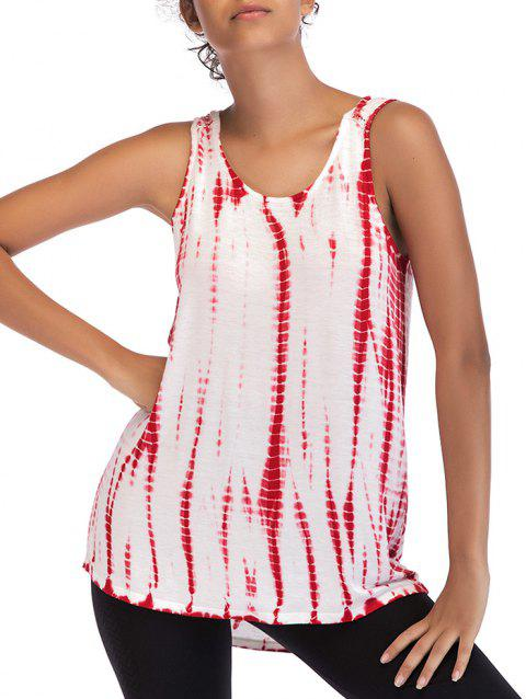 Ombre Print Sleeveless Top - RED WINE S