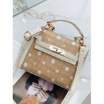 Contrasting Color Straw Chic Handbag with Strap - WHITE
