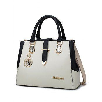 Chic Metal PU Leather Color Block Handbag - BEIGE