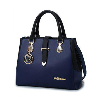 Chic Metal PU Leather Color Block Handbag - ROYAL BLUE