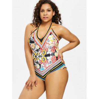 Plus Size Floral Backless Swimsuit - BLACK 5X
