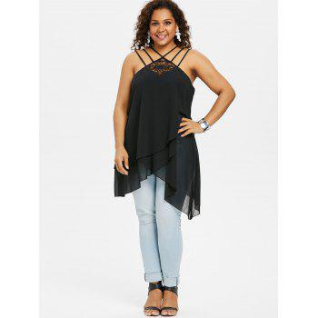 Plus Size Overlap Strappy Tank Top - BLACK 2X