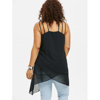 Plus Size Overlap Strappy Tank Top - BLACK L