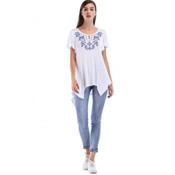 Pleated Short Sleeve Asymmetrical Top - WHITE XL