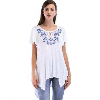 Pleated Short Sleeve Asymmetrical Top - WHITE S